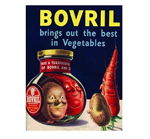 Metal Warning Signs 12X16 Bovril Brings Out The Best in Vegetables,Wall Signs Metal Plaque Poster Iron Painting Warning Sign Art Decoration for Bar Hotel Office Cafeteria