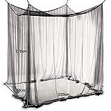 COSTWAY Moskitonetz für Doppelbett, Mückennetz aus Polyester, Bett Fliegennetz, Betthimmel inkl. Haken, Bettdekoration 220 x 200 x 210 cm (Schwarz) - 2
