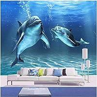 Bosakp カスタム任意のサイズの漫画イルカ壁壁画壁紙不織布寝具部屋パーソナライズ壁カバー家の装飾 160X100Cm