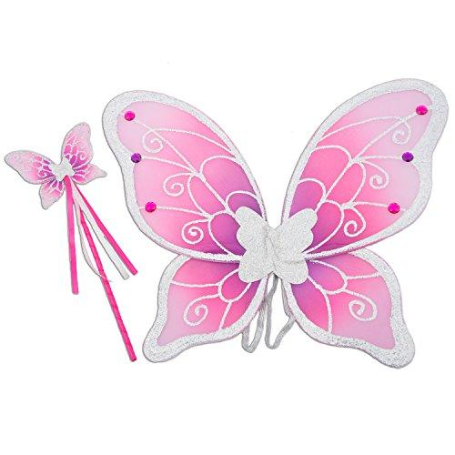 Lucy Locket Ali da fatina (costumi da Carnevale, ali da fata, bacchetta magica per bambini) Ali argento, viola e rosa per bambini (3-10 anni)