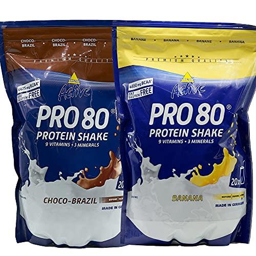 Atlant Vital Set aus Inkospor Active Pro 80 Protein Shake Eiweißpulver viele Geschmacksrichtungen 2x 500g (Choco-Brazil/Banana)