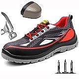Hombre Zapatillas de Seguridad con Punta de Acero Antideslizante Transpirable Zapatos de Trabajo Comodas Calzado de Trabajo Deportivos Botas de Protección Zapatillas de Senderismo,Rojo,44