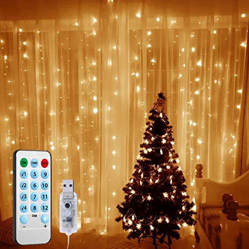 (2020 New) Window Curtain String Lights, 300 LED USB Powered String Lights, 4 Music Control Modes 8 Lighting Modes Waterproof Decorative Lights for Wedding, Homes, Party, Bedroom Chrismas (Warm Whit
