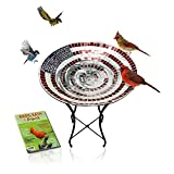 """Glass Birdbath with Stand - 24 Inch Mosaic American Flag Pattern 