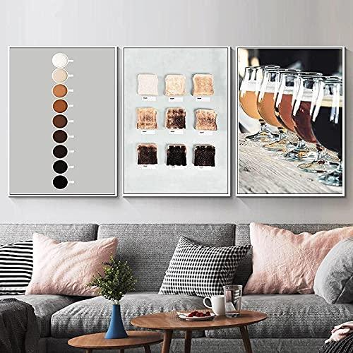 Pinturas en lienzo Cartel de cita de pasta nórdica e impresión Copa de vino Comida Bebida Imagen de arte de pared para cocina Habitación Restaurante Decoración 3 piezas 50x70cm sin marco