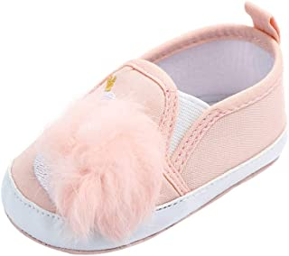 Baby Girls Soft Sole Non-Slip Toddler First Walker Infant Newborn Hairball Crib Casual Shoes