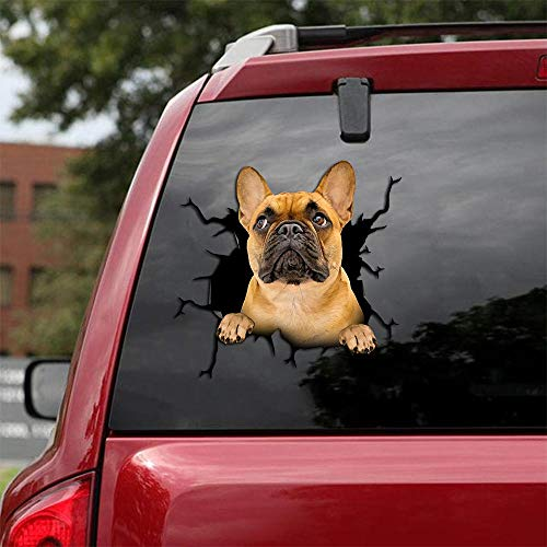 Ocean Gift French Bulldog Car Decals, Dog Car Stickers Pack of 2 - Realistic Frenchie Stickers for Car Windows, Walls Series 73 Size 10' x 10'
