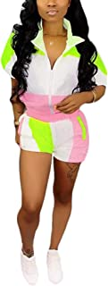 Casual Two Piece Outfits for Women - Loose Striped Crop Tops + Elastic High Waisted Shorts Pants Rompers