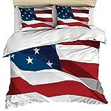 Set di biancheria da letto in 3 pezzi include 1 copripiumino 2 federe per cuscino, copriletto copriletto bandiera americana volante con chiusura a cerniera copriletto decorativo per bambini / ragazzi