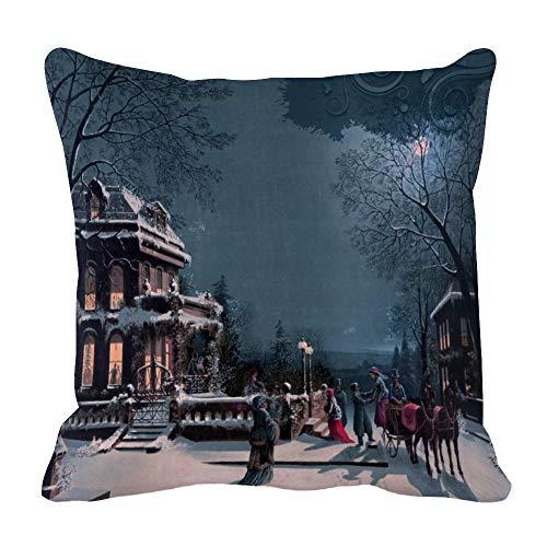 Perfecone Home Improvement - Funda de almohada de algodón para sofá y coche, diseño vintage con texto en inglés 'Merry Christmas' (43 x 43 cm)