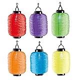6er Set Solar LED Lampion Party Garten Laterne Oval Bunt Deko Lampenschirm Lampe Kugel Gartenlampion