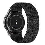 MroTech Kompatibel mit Samsung Gear S3 Frontier/Galaxy Watch3 45mm/Galaxy Watch 46mm Armband 22mm Uhrenarmband Nylon Ersatzband für Huawei Watch GT/GT2 46 mm Band Elastic Woven Loop-Kohlenschwarz/XS