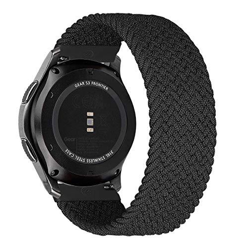 MroTech Compatibile con Huawei Watch GT 2 46 mm/GT 2e/GT2 PRO Cinturino 22 mm de Ricambio per Samsung Galaxy Watch3 45mm/Gear S3 Frontier/Galaxy 46mm Solo Loop Sportivo Elastica Nylon Banda-Noir/XS