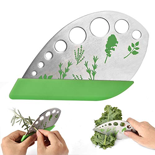 Leaf Herb Stripper, Stainless Steel Kitchen Herb Stripper Tool, 9holes, 2 in 1 design,Curved edge can be used as a kitchen knifefor Chard, Collard Greens, Parsley, Basil, Rosemary Herb, Taragon, Thym