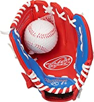 Rawlings Players Series Youth Tball/Baseball Glove with Ball, Right Hand Throw, Red/Blue, 9 Inch (Ages 3-5)