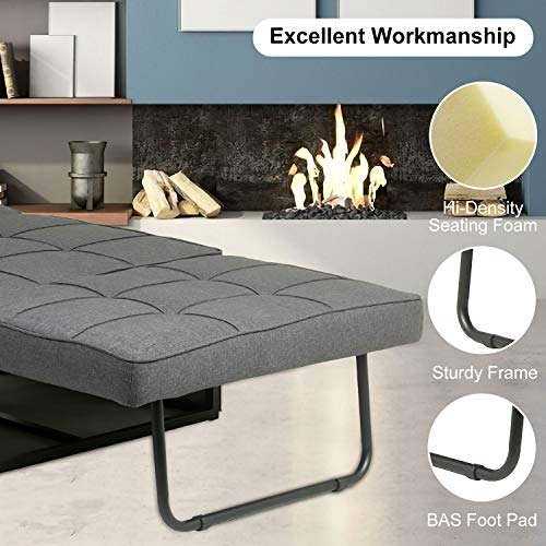 Ottoman Sleeper Bed 4 in 1 Multi-Function Adjustable Ottoman Bed Bench Guest Sofa Chair with Pillow for Bedroom Small Room and Apartment (Dark Grey)
