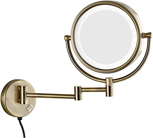 8 5 Led Lighted Wall Mount Makeup Mirror 360 Swivel Extendable 3X 5X 7X 10X Magnification Bathroom Mirror Gold Bronze