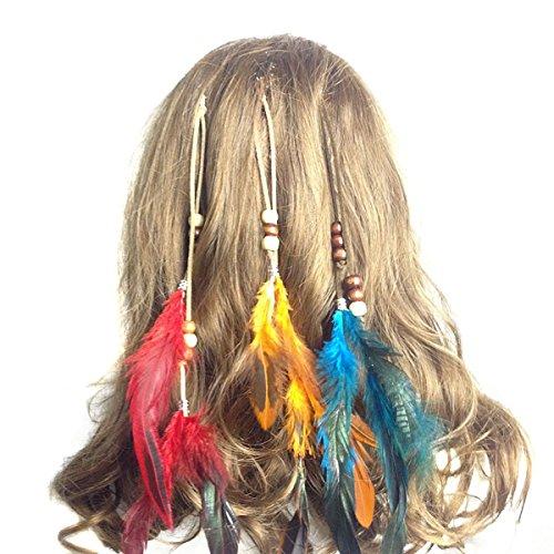 Lot de 6 extensions de cheveux faites à la main style bohème hippie avec plume et peigne épingle à cheveux pour femmes et filles