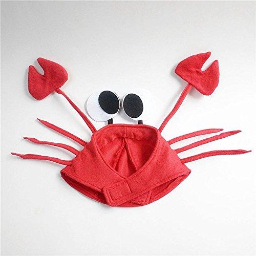 QWERGLL Weihnachten Red Lobster Crab Sea Animal Hat Halloween Kostüm Fancy Party Erwachsene Kinder Cap