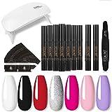 Esmalte semipermanente, conjunto de bolígrafos de pegamento para uñas, con luz LED – Serie de 7 colores – Conjunto de esmalte de uñas de gel para decoración de uñas