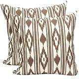 TRESMESTRES Fundas de Cojines 50x50 - Decoración Ikat - Decorativos para Sofá o Almohadas/Almohadones para Cama - Grandes - Diseño Mediterráneo - Funda Cojín 50 x50 cm, 2 Pack, Marrones