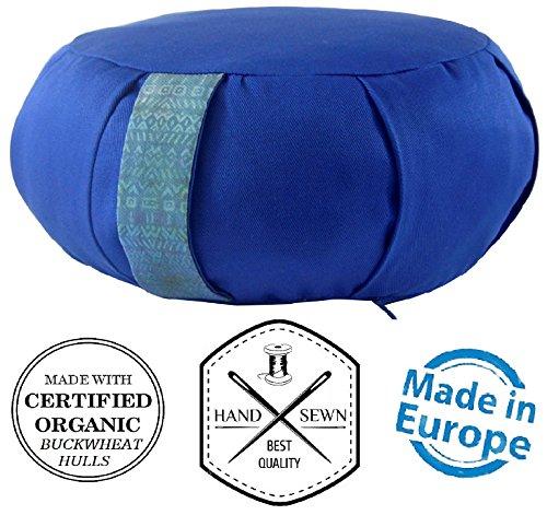 Premium Yoga Meditation Cushion Zafu. Certified Organic Buckwheat Fill. Extra Spinal Support. Unique...