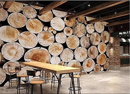 Carta da parati 3d camera da letto Carta da parati murale 3d con anello annuale in legno di tronchi di stile Adesivi muro 3d -350cmx245cm