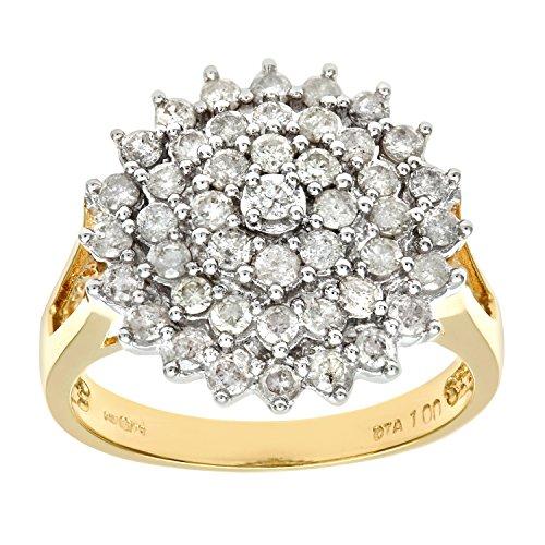 Naava Anillo para Mujer de Oro Amarillo 18K con 45 Diamantes talla 15.5