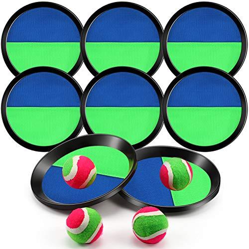 Gioco della Cattura della Palla con 8 Racchette e 4 Palline, 7.3 Pollici Cattura della Palla Gioco di Sport Set Pagaia Giochi di Cattura attività all'Aperto per Famiglie (Verde e Blu Scuro)