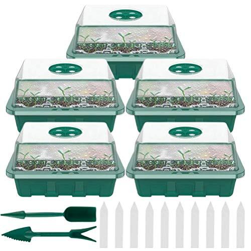 Roexboz Zimmergewächshaus Anzuchtkasten Sämlings-Starterschalen Pflanzenzuchtschalen und feuchtigkeitsbelüftete Kuppeln Treibhaus Anzuchtschale mit Deckel und Belüftung