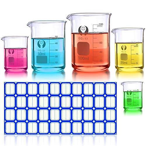Wandefol 5pcs Vaso Cristal de Laboratorio, Vaso de Vídrio Graduado, Vaso Medidor...