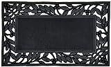 Iron Rettangolare 45x75 cm Zerbino in Gomma da Fuori Porta Resistente e di qualità Antiscivolo Stile Ferro Battuto Decorato Ecologico (Cornice)