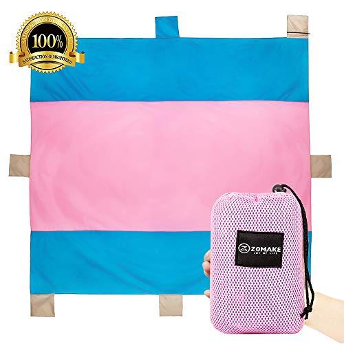 ZOMAKE Tasche Decken, kompaktes Picknick/Strand Decke – XL Extra Groß (300 x 300 cm) für 5–6 Personen (Blau/Rosa)