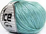 Rock Star, Fuzzy Halo, Shine, Soft Nylon Merino Wool Acrylic Blend Yarn, 50 Gram, Mint