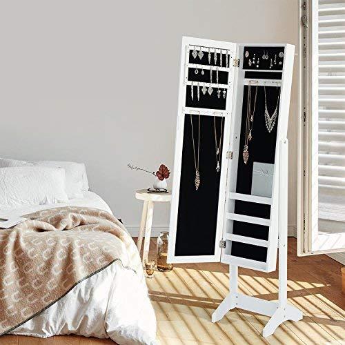 Homy Lin Clóset de Joyas Elegante Armoire Cabinet Stand Organizador Caja de Almacenamiento Case Espejo Anillos, Collares, Pulseras, Color Blan