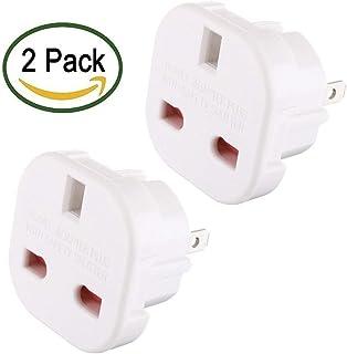 Travel Adaptor White UK to USA/AUS Q4U Convert Power UK Plug 3 pin to USA/Canada/Australian Plug 2 Pin Pack of 2