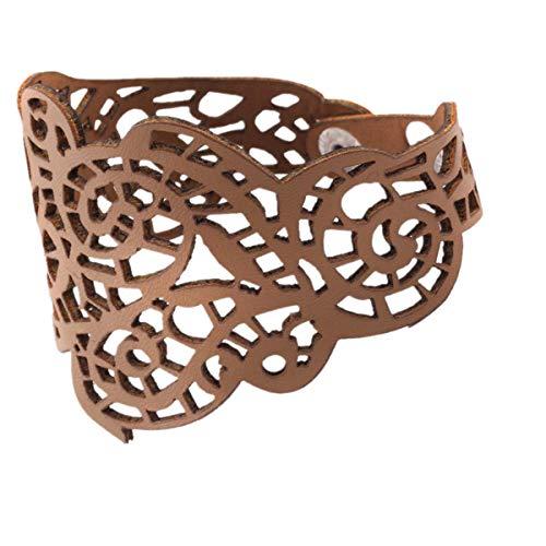 Qiuday Armreif Boho Armschmuck Armreif Teppich, Schmuck, Rotgold,Weinlese-Frauen-Punkart höhlen heraus Blumen-breites Armband-Stulpe-Lederarmband