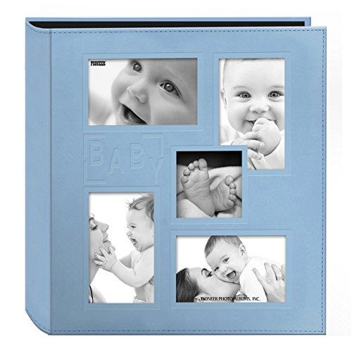 Pioneer Fotoalbum mit geprägtem Baby, genähter Kunstledereinband, 10,2 x 15,2 cm, für 240 Fotos, Babyblau