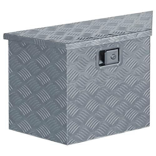 Festnight Aluminiumkiste | Allzweck Transportkoffer | Trapezförmig Deichselbox | Staukasten | Alukiste Alubox | mit Schließsystem | Silbern 70×24×42 cm