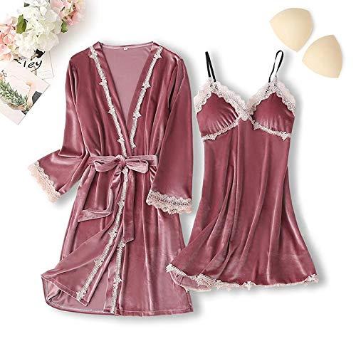 LIXUDECO Ropa de dormir sexy de encaje para mujer, lencería íntima, conjunto de 5 piezas, kimono, bata de terciopelo suave, ropa de dormir (color: rosa, juego de 2 piezas, talla L: XL)