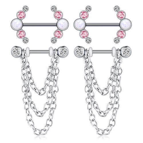 Briana Williams 2 Paar Brustwarzenpiercing Nippelring Chirurgenstahl Set 16mm 14G Nippel Schild Kette Nippel Piercing Opal Diamant