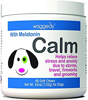 Calming Chews for Dogs, Tasty Treats Provide Stress & Anxiety Relief for Dogs During Separation, and Times of Fear – 60 Canine Melatonin Calm Aid Supplements w/ Passionflower & Chamomile (4.06 oz.)