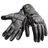 Hand Fellow - Guantes de piel para motocicleta, compatibles con pantalla táctil, con protección de nudillos