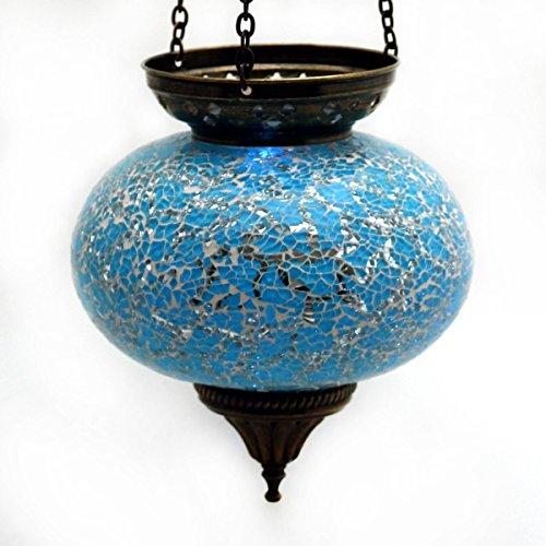 Mosaik Lampe Hängelampe Windlicht Pendelleuchte Aussenleuchte Deckenleuchte aus Glas Teelichthalter Orientalisch Handarbeit dekoration - Gall&Zick (Türkis L)