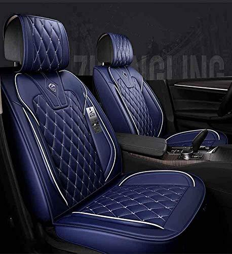 Conjunto Completo Universal Fit 5 Asientos Coche Rodeado Fundas de Asiento de Coche de Cuero Impermeables Protector Ajustable Cojines de Asiento Automáticos Extraíbles,Azul
