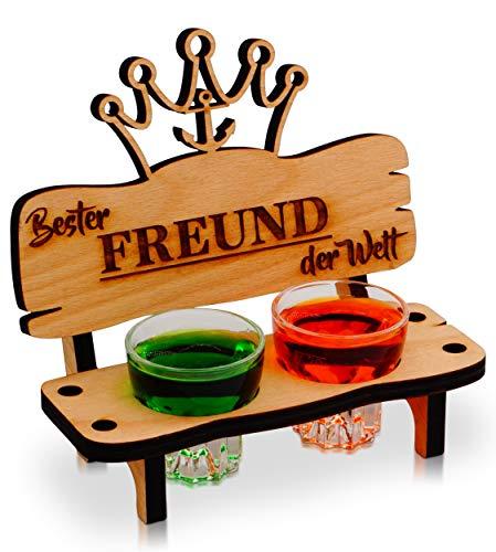 Schnapsbank mit Schnapsglas und Kerze, Deko Anker und Herz Geschenk - Bester Freund der Welt