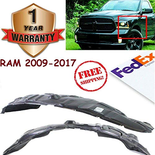 New Front Splash Shield Inner Fender Liners Black Primed for 2009-2017 Dodge Ram 1500 Sport Laramie TRX4 SLT ST Direct Replacement Front Left Hand and Right Hand Side Plastic with Alum Pad