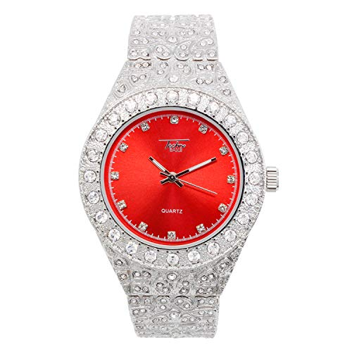 Mens 44mm Silver Hip Hop Iced Out Diamond Link Watch with Cubic Zirconia Crystals and Blinged Out Nugget Band - Quartz Movement - Resizeable Links (Red Dial)
