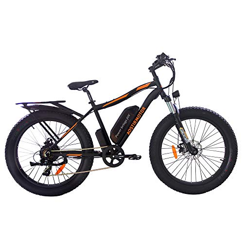WSMON Electric Mountain Bike Fat Tires Electric Bicycle with 750W Motor,48V13AH Removable Lithium Battery,Shimano Outer 7 Speed, Ebike with Rack,Aostirmotor Electric Mountain Bike for Adults (Black)