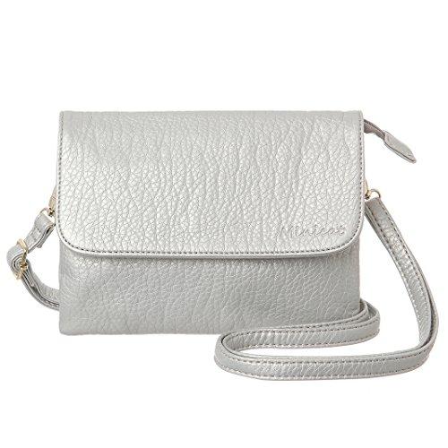 MINICAT RFID Blocking Small Crossbody Bags for Women Travel Small Purses and Handbags Crossbody with Card Slots(Light Silver,Small)
